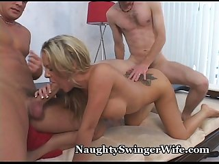 Naughty swinger Wife in 3some