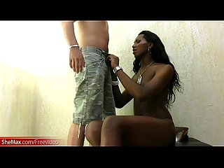 Hard body ebony shemale strokes her black monstercock