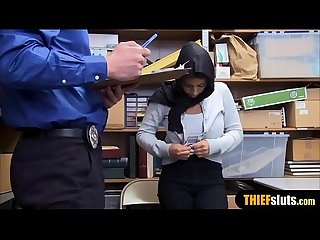Muslim busty teen thief in hijab punish fucked hard