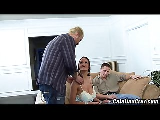 Carmella Bing cum covered face blowjob threesome Barrett Blade
