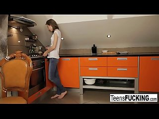 Teen gets fucked in the kitchen